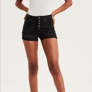 AE Next Level High Rise Button Up Black Shorts!